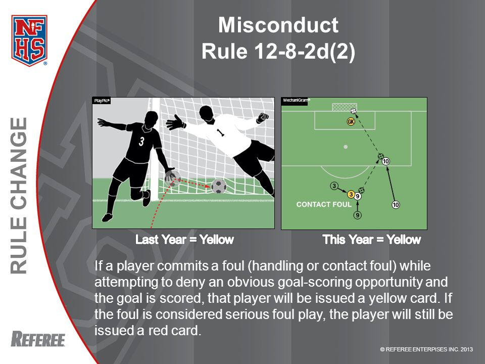 © REFEREE ENTERPISES INC. 2013 RULE CHANGE Misconduct Rule 12-8-2d(2) If a player commits a foul (handling or contact foul) while attempting to deny a