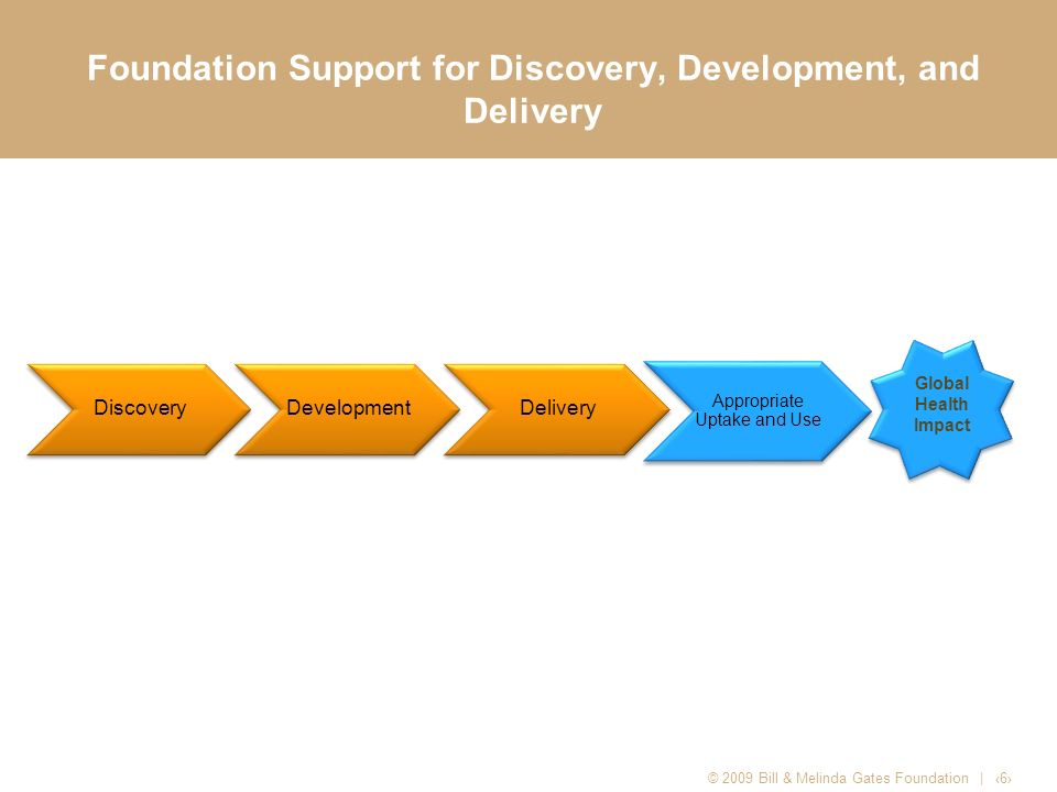 Gates Foundation Support for Drugs and Vaccines in Late-Stage Preclinical or Clinical Development Product ClassCandidates HIV (Vaccines)13 HIV (Non-Vaccine Prevention)9 TB (Vaccines) 6 TB (drugs) 2 Malaria (vaccines) 10 Malaria (drugs) 6 Pneumonia (vaccines) 5 Diarrhea (vaccines)11 Diarrhea (drugs)1 Dengue Fever1 Visceral Leishmaniasis3 Human African Trypanosomiasis2 Hookworm2 Japanese Encephalitis1 Human Papillomavirus1 Product/Platform Candidates4 Total77 © 2009 Bill & Melinda Gates Foundation | 7