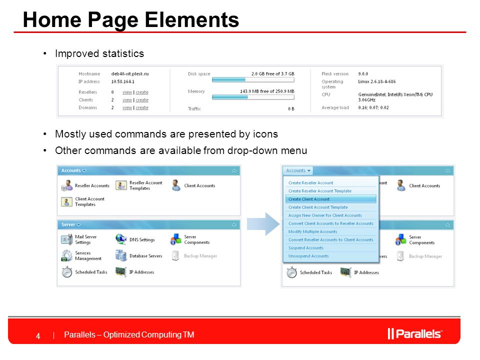 Parallels – Optimized Computing TM Complete Hosting Solution Seamless end to end integration Sell, Provision, Manage hosting plans Full automation and management of domain registrations Hosting plans synchronized with provisioning templates Integrated GUI for service provider and clients Support for over 20 payment gateways UI Navigation between Control Panel and Billing Plesk Billing 15 *Feature Currently Not in Beta