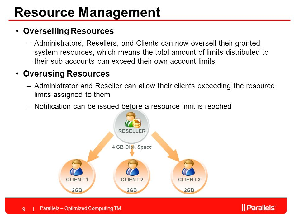 Parallels – Optimized Computing TM CLIENT 2 2GB Resource Management 9 Overselling Resources –Administrators, Resellers, and Clients can now oversell their granted system resources, which means the total amount of limits distributed to their sub-accounts can exceed their own account limits Overusing Resources –Administrator and Reseller can allow their clients exceeding the resource limits assigned to them –Notification can be issued before a resource limit is reached RESELLER 4 GB Disk Space CLIENT 1 2GB CLIENT 3 2GB