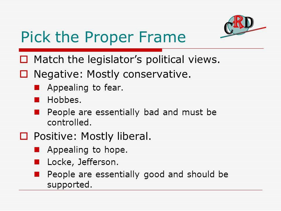Pick the Proper Frame Match the legislators political views.