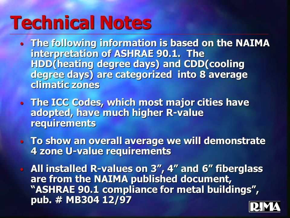Technical Notes The following information is based on the NAIMA interpretation of ASHRAE 90.1. The HDD(heating degree days) and CDD(cooling degree day