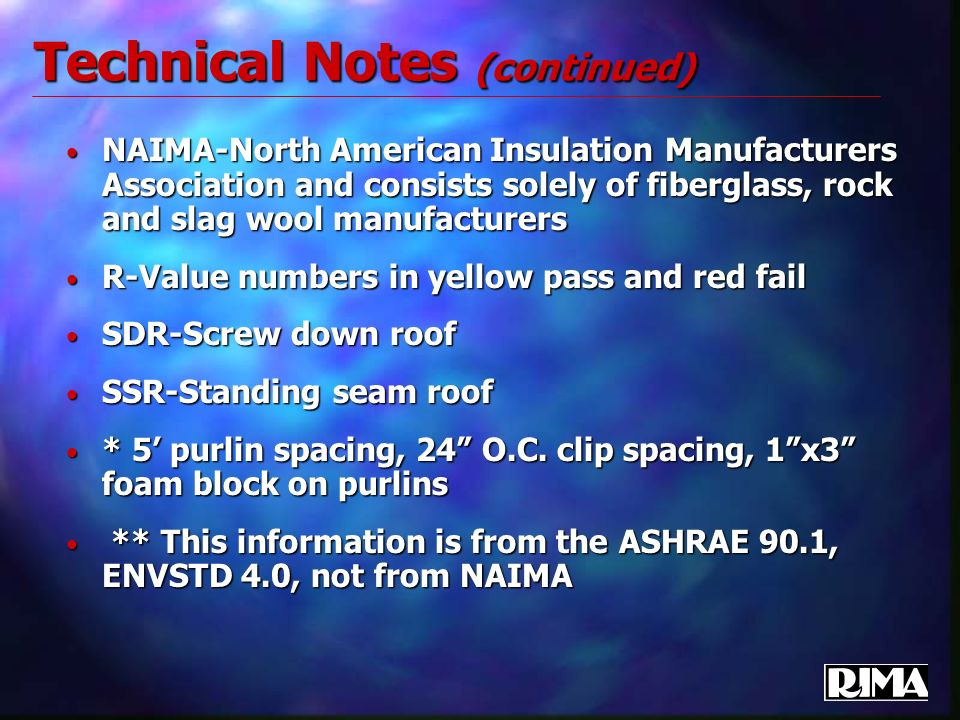 Technical Notes (continued) NAIMA-North American Insulation Manufacturers Association and consists solely of fiberglass, rock and slag wool manufactur