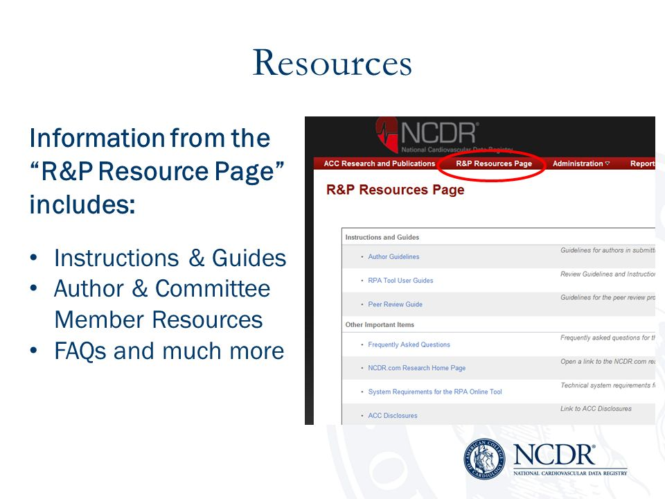 Resources Information from the R&P Resource Page includes: Instructions & Guides Author & Committee Member Resources FAQs and much more