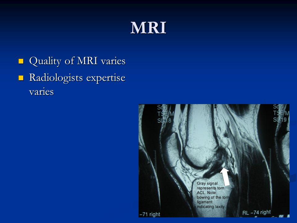MRI Quality of MRI varies Quality of MRI varies Radiologists expertise varies Radiologists expertise varies