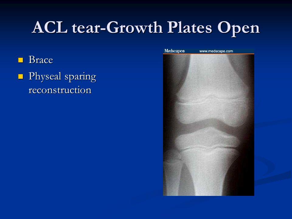 ACL tear-Growth Plates Open Brace Brace Physeal sparing reconstruction Physeal sparing reconstruction