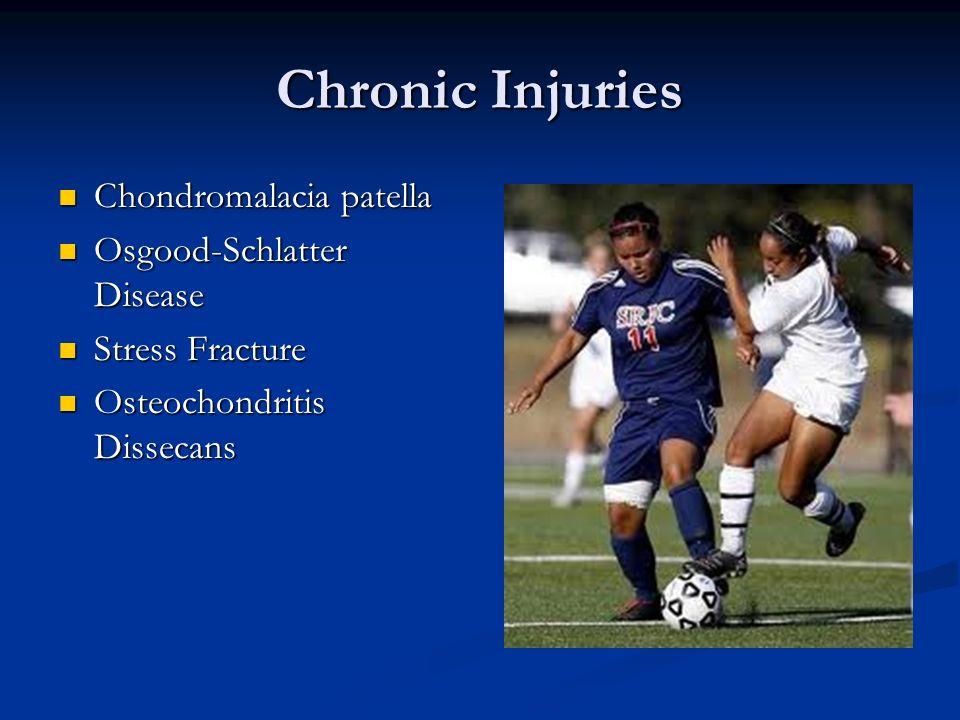 Chronic Injuries Chondromalacia patella Chondromalacia patella Osgood-Schlatter Disease Osgood-Schlatter Disease Stress Fracture Stress Fracture Osteo