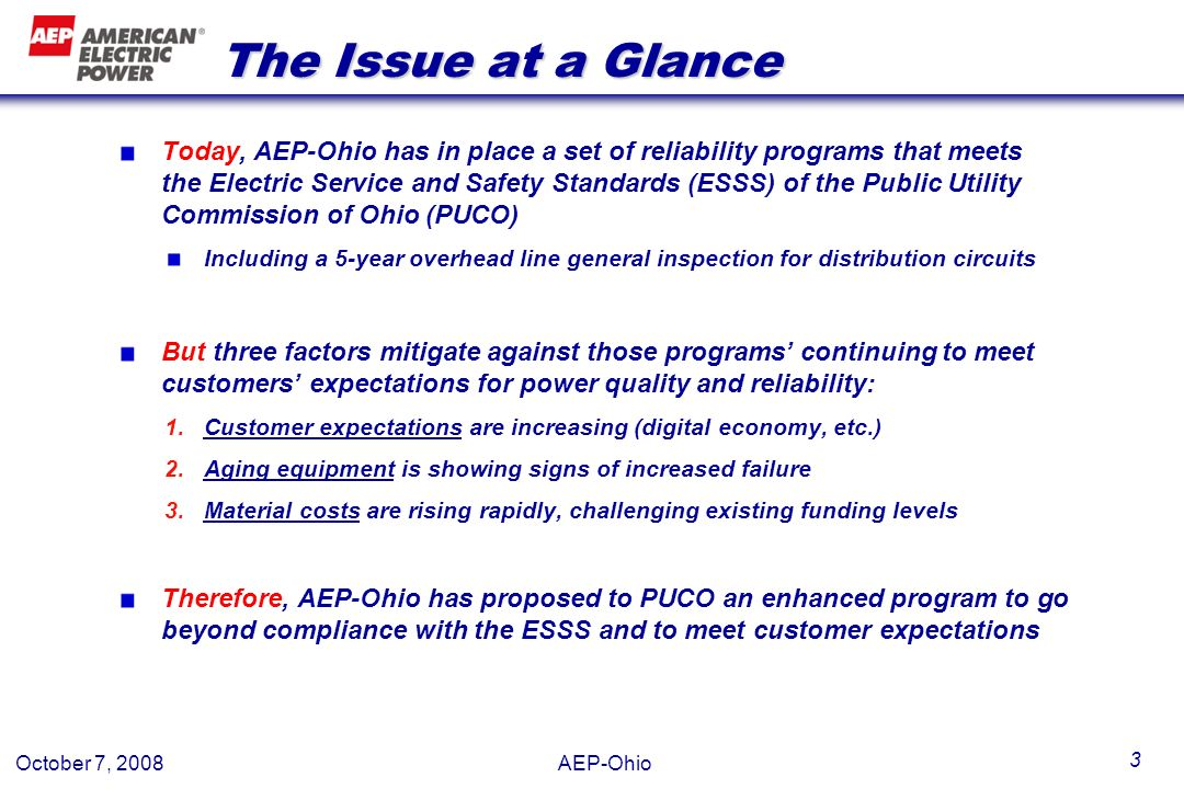 October 7, 2008 AEP-Ohio 4 Placeholder slide Bob: consider putting a slide here with graphs of how customer expectations are increasing (or Boyds stats about increasingly digital homes, etc), equipment failures are increasing, and material costs are increasing (Boyds graph) But we could just as well skip it if people already agree with these points The Ohio ESSS include chapter 27 which prescribes the inspection, maintenance, repair, and replacement programs for T&D facilities