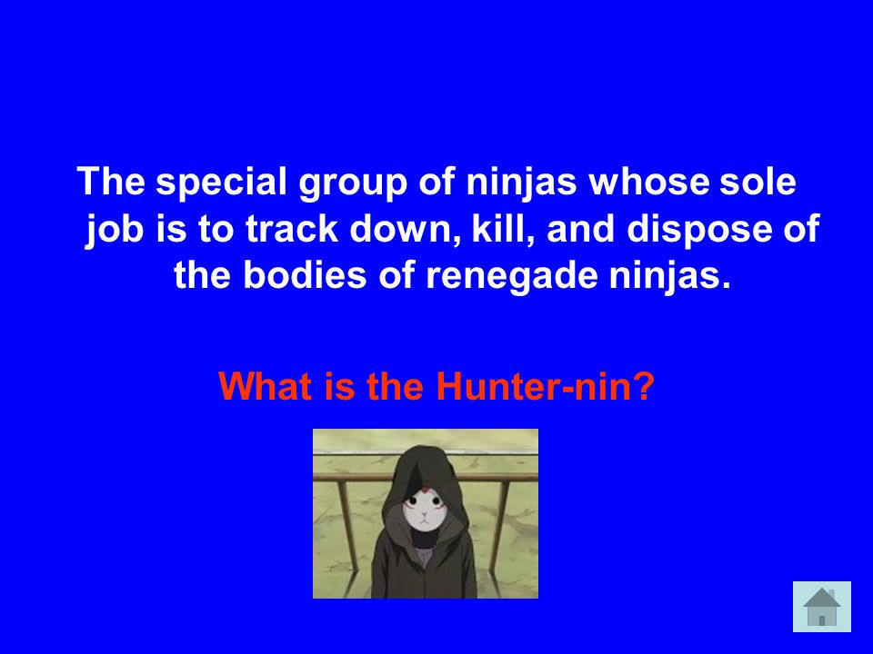 The special group of ninjas whose sole job is to track down, kill, and dispose of the bodies of renegade ninjas. What is the Hunter-nin?