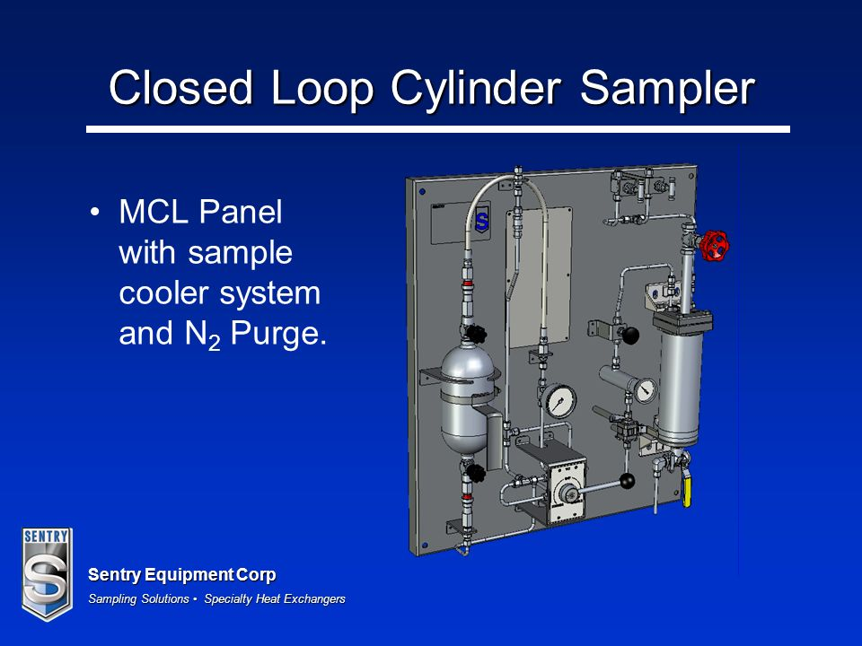 Sentry Equipment Corp Sampling Solutions Specialty Heat Exchangers Closed Loop Cylinder Sampler MCL Panel with sample cooler system and N 2 Purge.