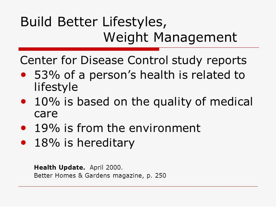 Build Better Lifestyles, Weight Management Center for Disease Control study reports 53% of a persons health is related to lifestyle 10% is based on th