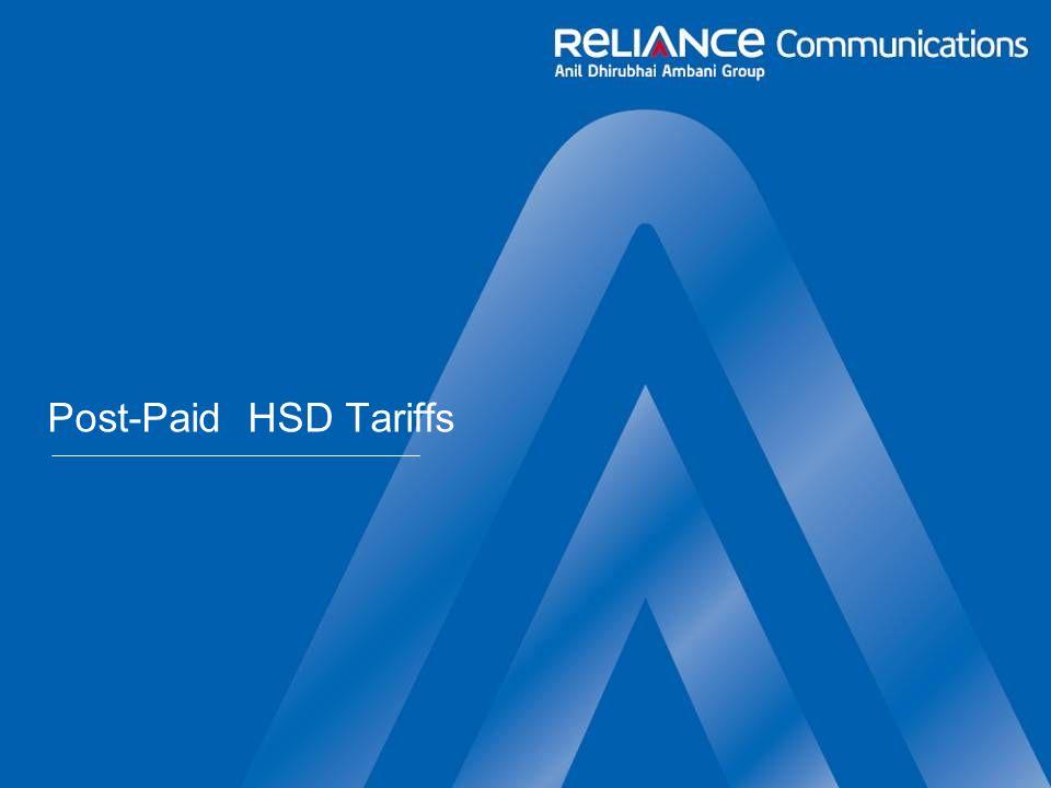 Post-Paid HSD Tariffs