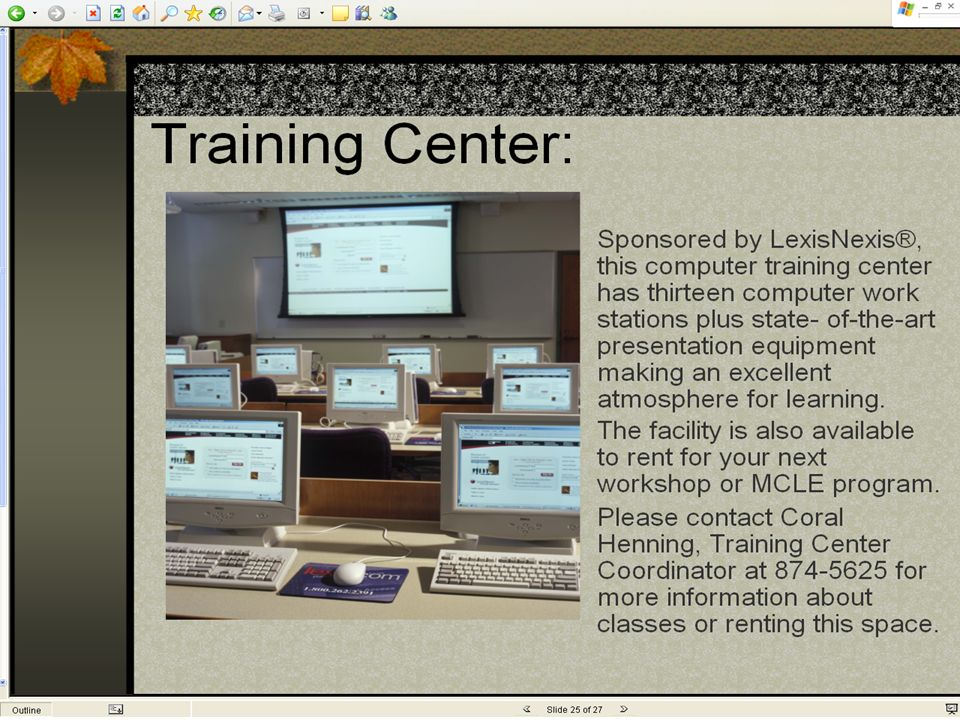 Sacramento County Public Law Library Photo form the virtual tour showing the Training Center. Leave screen capture in, as virtual tour requires latest
