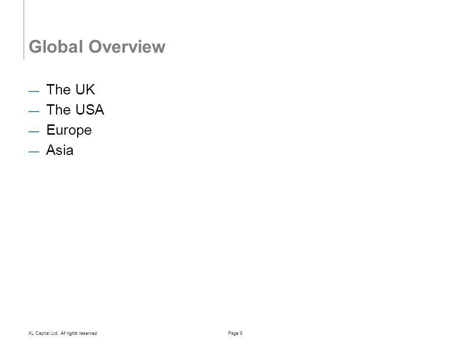 XL Capital Ltd, All rights reservedPage 9 Global Overview The UK The USA Europe Asia