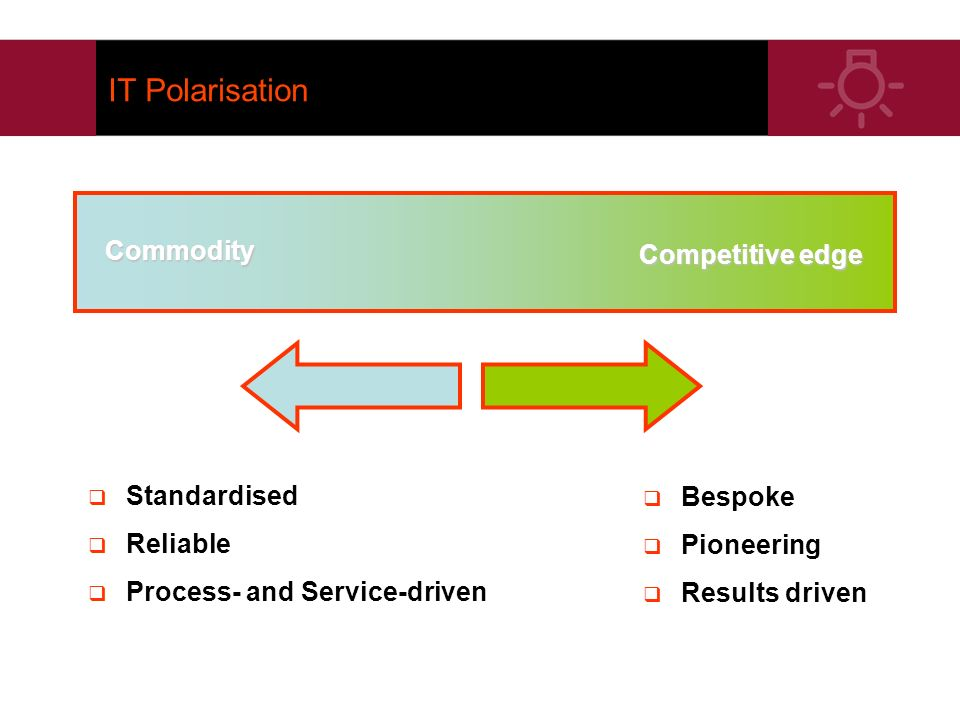 IT Polarisation Commodity Competitive edge Standardised Reliable Process- and Service-driven Bespoke Pioneering Results driven
