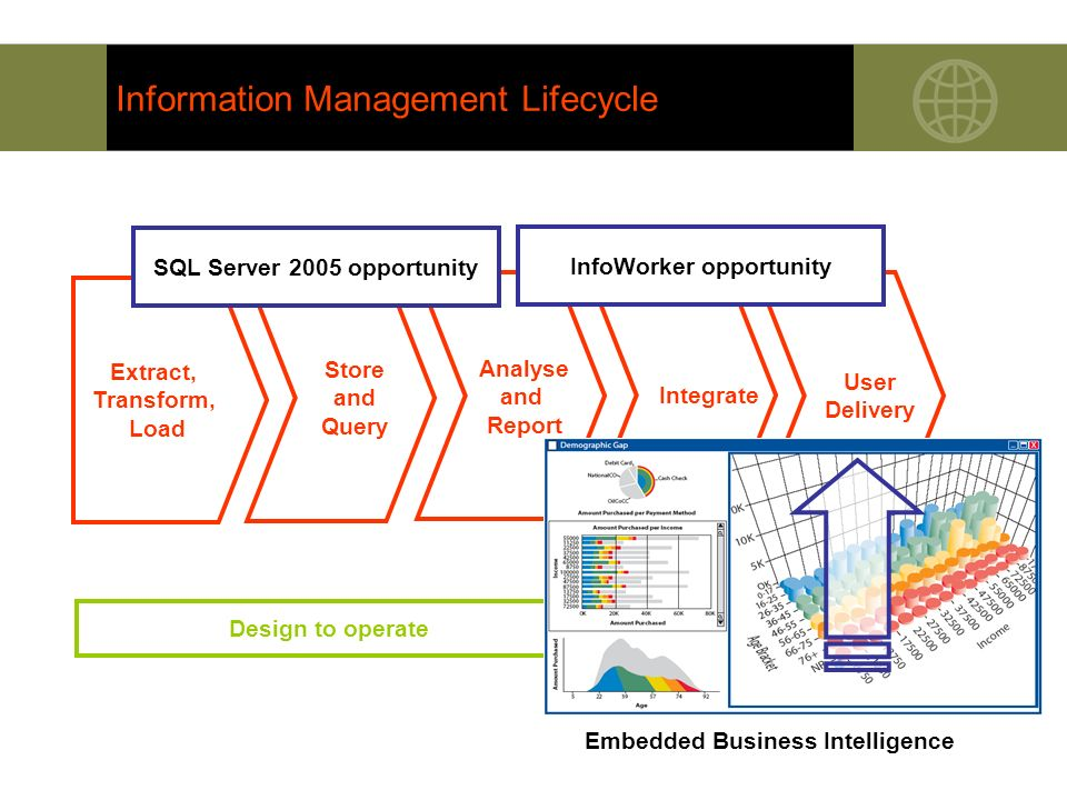 Information Management Lifecycle Extract, Transform, Load Store and Query User Delivery Analyse and Report Integrate Design to operate SQL Server 2005