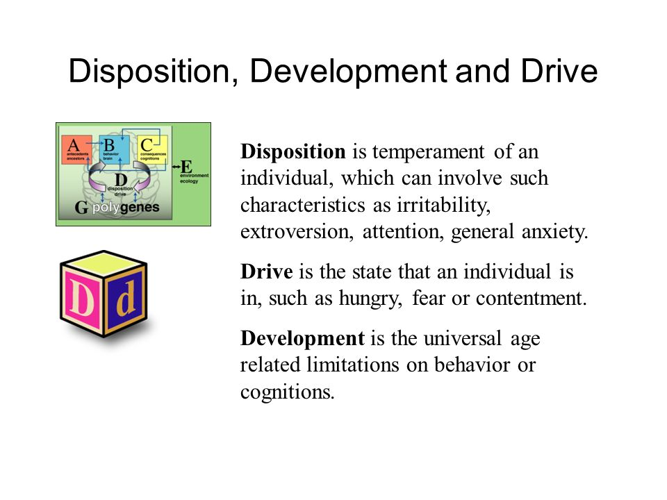 Disposition, Development and Drive Disposition is temperament of an individual, which can involve such characteristics as irritability, extroversion,