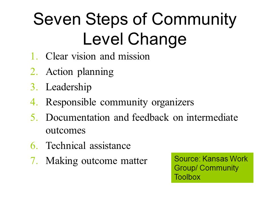 Seven Steps of Community Level Change 1.Clear vision and mission 2.Action planning 3.Leadership 4.Responsible community organizers 5.Documentation and