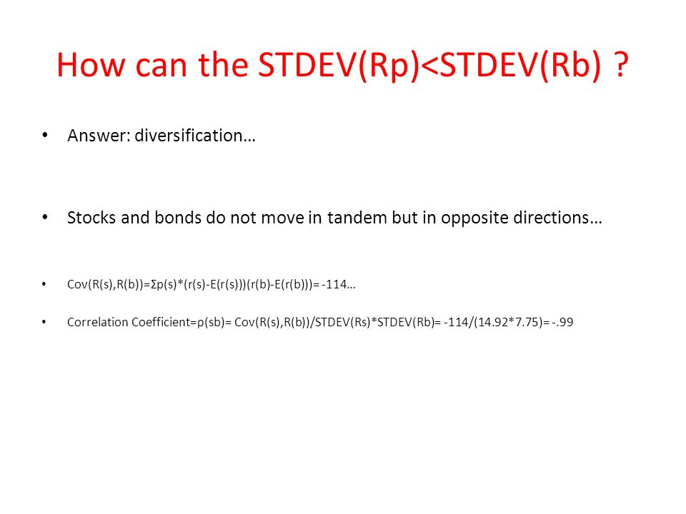How can the STDEV(Rp)<STDEV(Rb) .