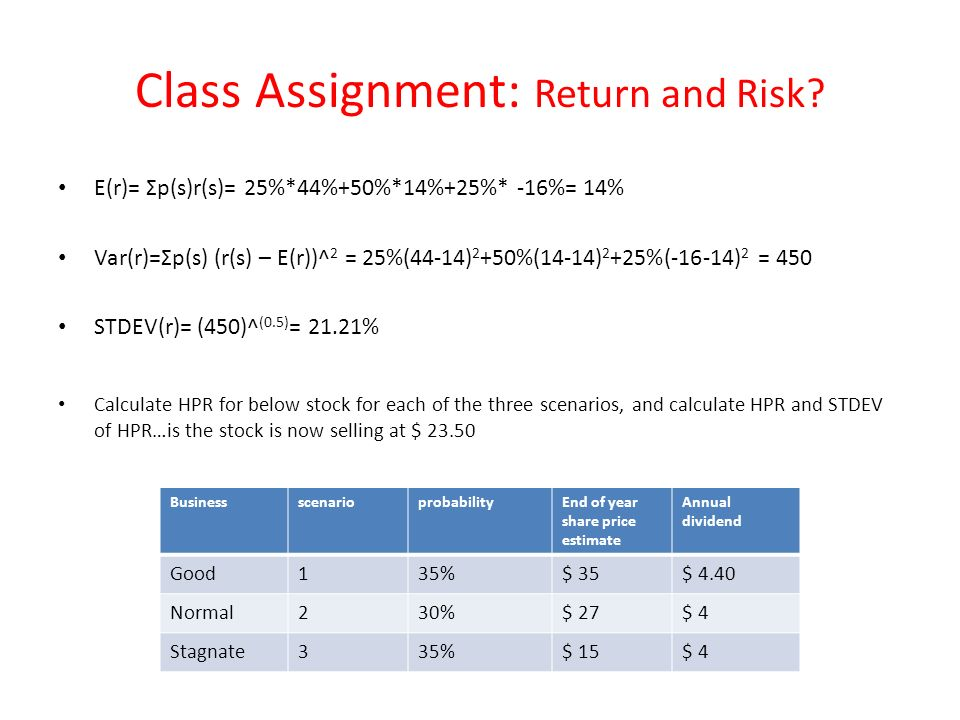 Class Assignment: Return and Risk.