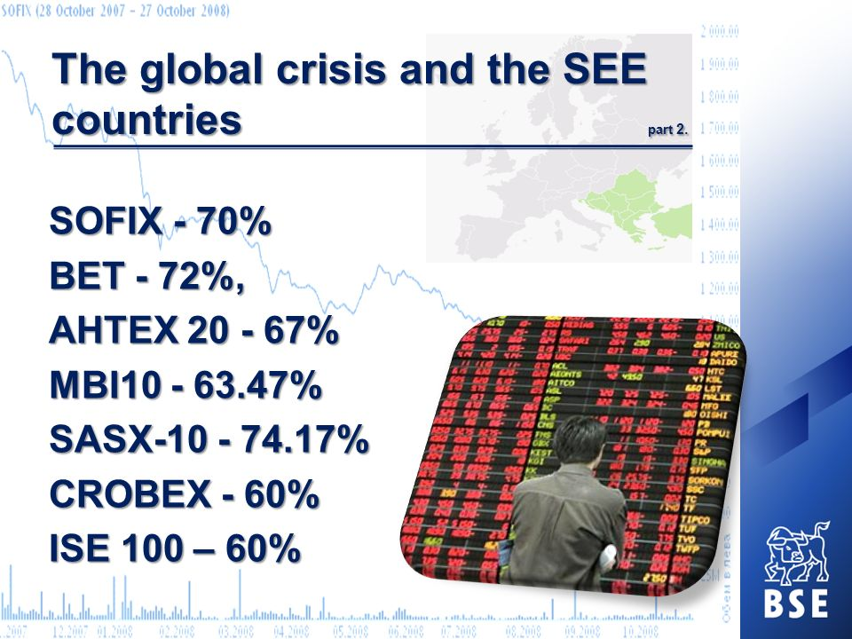 The global crisis and the SEE countries part 2. SOFIX - 70% BET - 72%, AHTEX 20 - 67% MBI10 - 63.47% SASX-10 - 74.17% CROBEX - 60% ISE 100 – 60%
