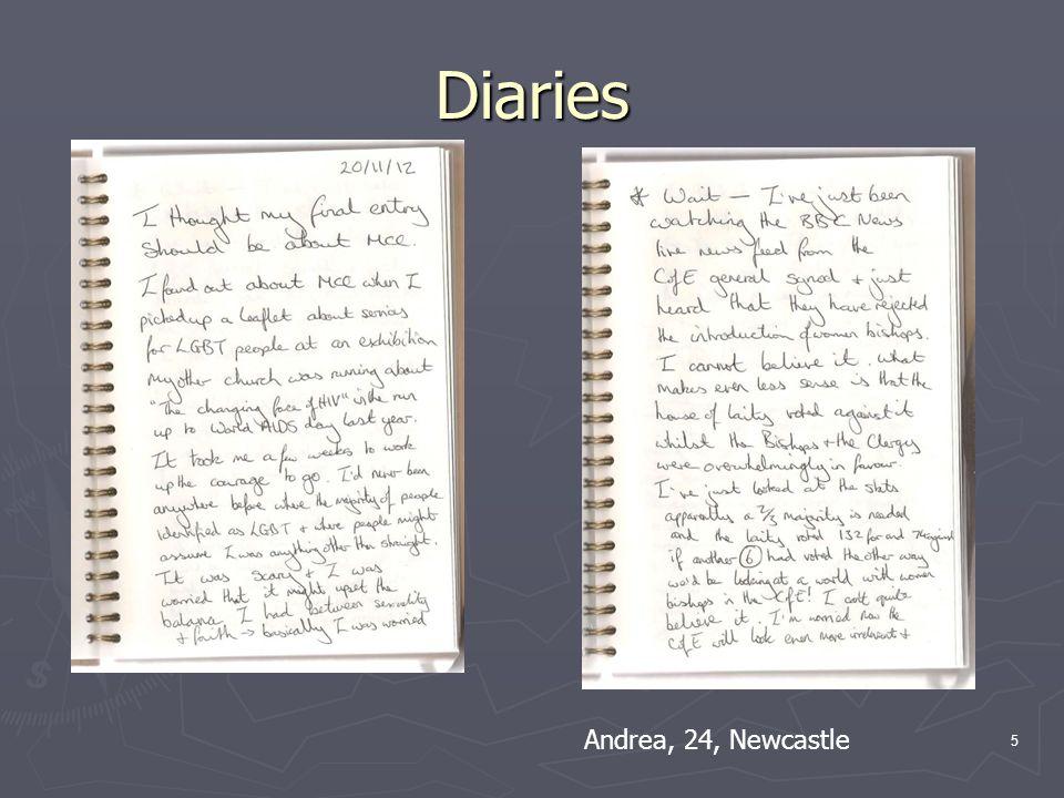Diaries 5 Andrea, 24, Newcastle
