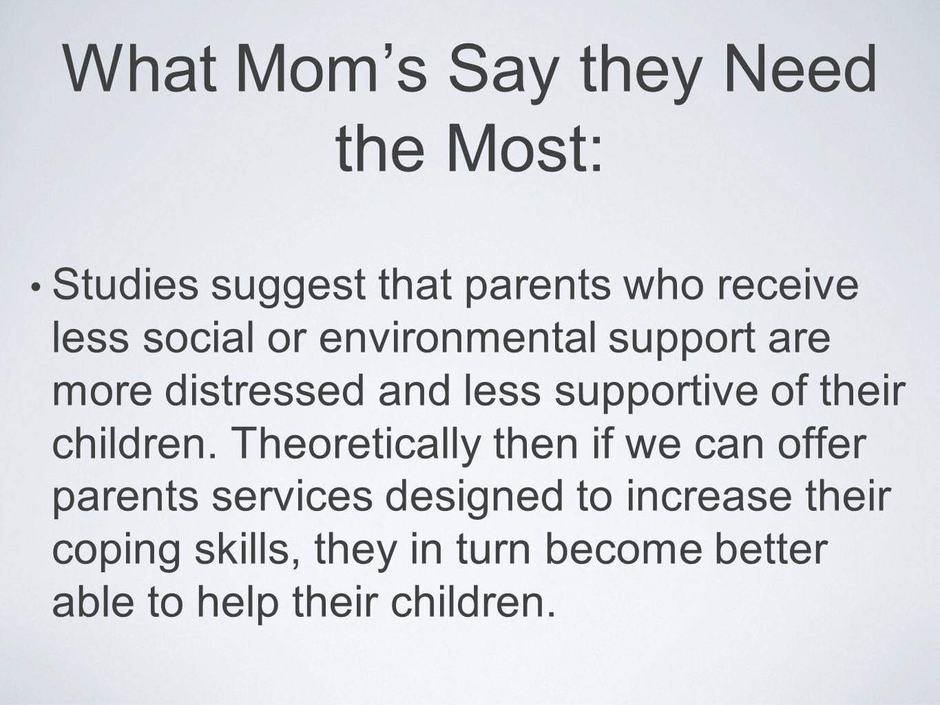 What Moms Say they Need the Most: Studies suggest that parents who receive less social or environmental support are more distressed and less supportiv