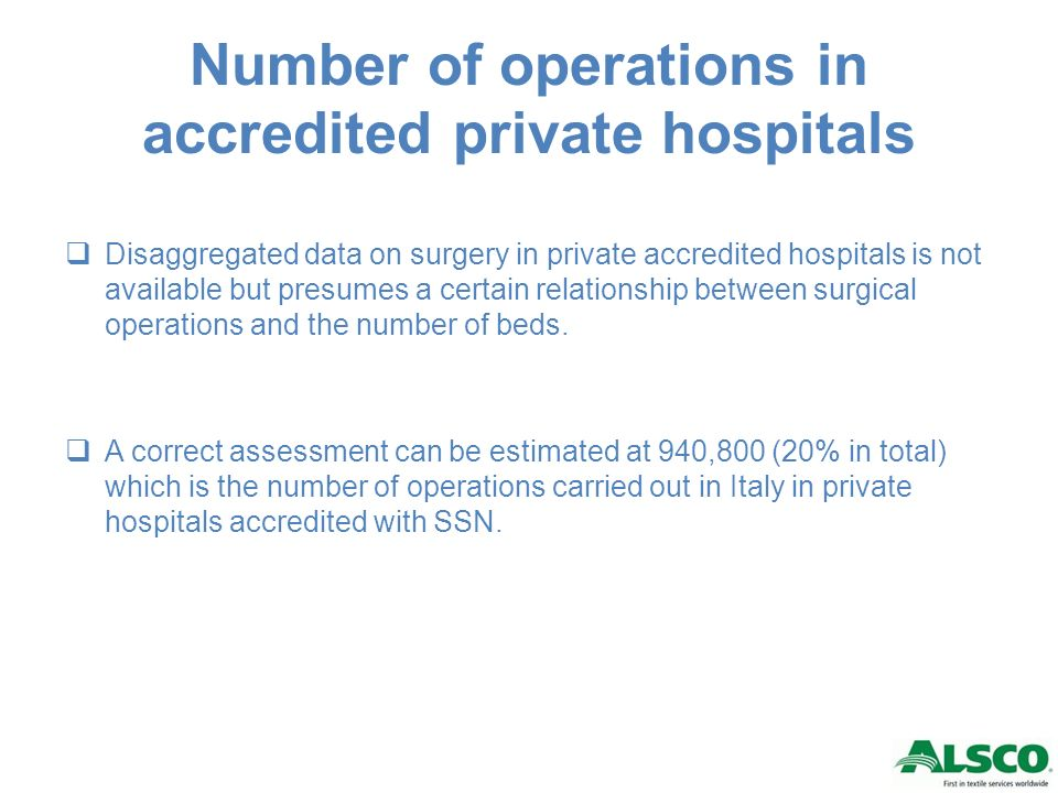 Number of operations in accredited private hospitals Disaggregated data on surgery in private accredited hospitals is not available but presumes a certain relationship between surgical operations and the number of beds.