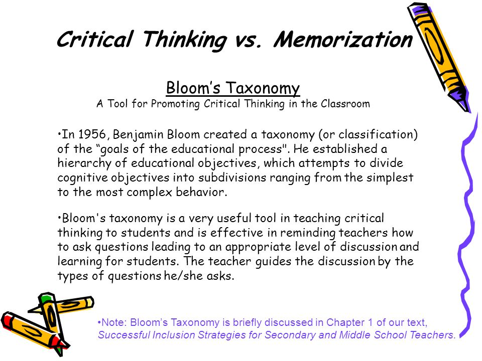 In 1956, Benjamin Bloom created a taxonomy (or classification) of the goals of the educational process
