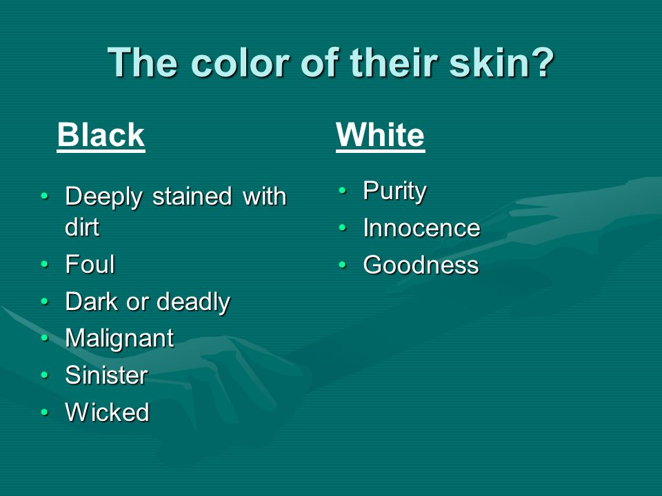 The color of their skin? Deeply stained with dirtDeeply stained with dirt FoulFoul Dark or deadlyDark or deadly MalignantMalignant SinisterSinister Wi