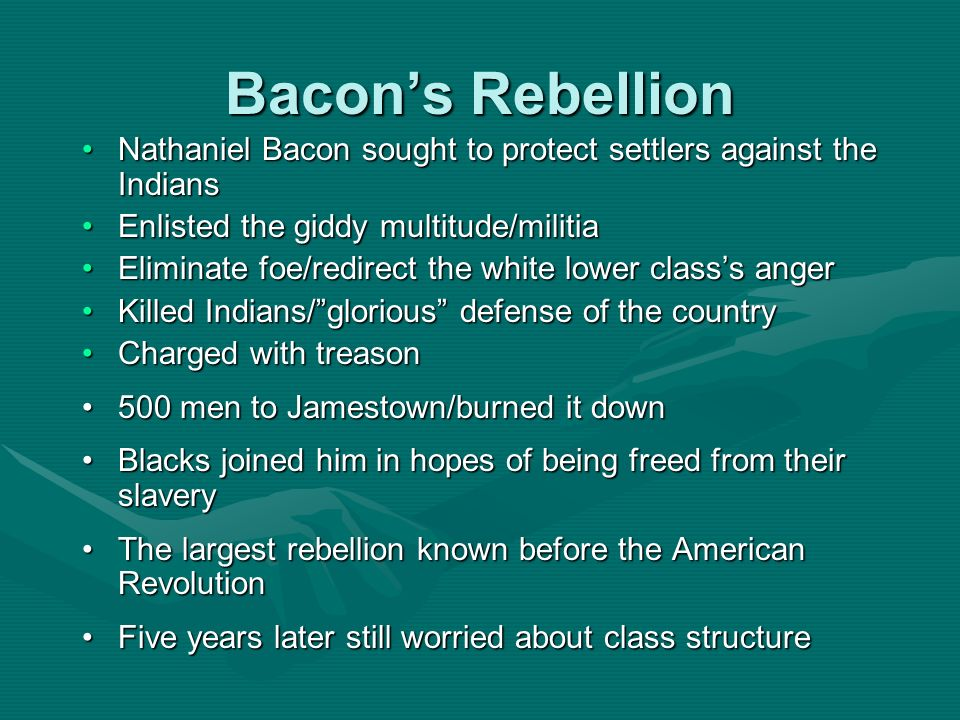 Bacons Rebellion Nathaniel Bacon sought to protect settlers against the IndiansNathaniel Bacon sought to protect settlers against the Indians Enlisted