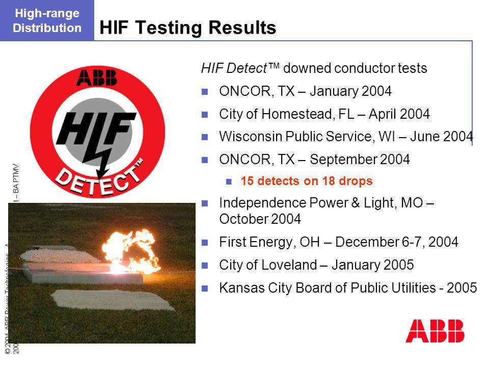 © 2004 ABB Power Technologies - 4 - 2004/10/13 –OEM2004_DistributionAutomation.ppt – BA PTMV HIF Testing Results High-range Distribution HIF Detect do