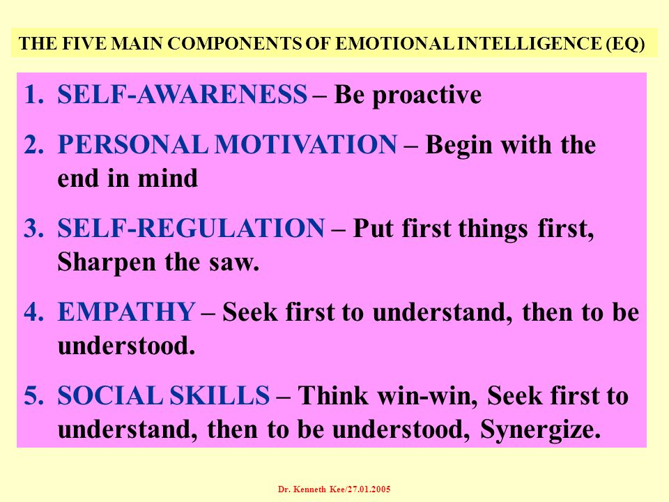 Dr. Kenneth Kee/27.01.2005 THE FIVE MAIN COMPONENTS OF EMOTIONAL INTELLIGENCE (EQ) 1.SELF-AWARENESS – Be proactive 2.PERSONAL MOTIVATION – Begin with