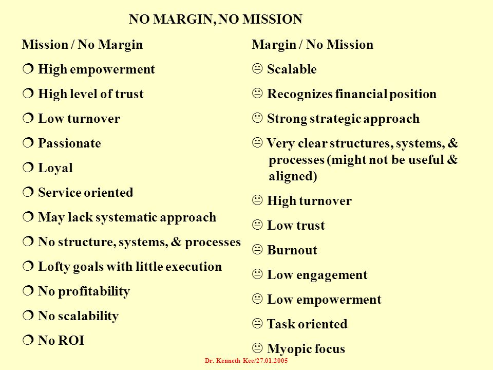 Dr. Kenneth Kee/27.01.2005 NO MARGIN, NO MISSION Mission / No Margin ¦ High empowerment ¦ High level of trust ¦ Low turnover ¦ Passionate ¦ Loyal ¦ Se