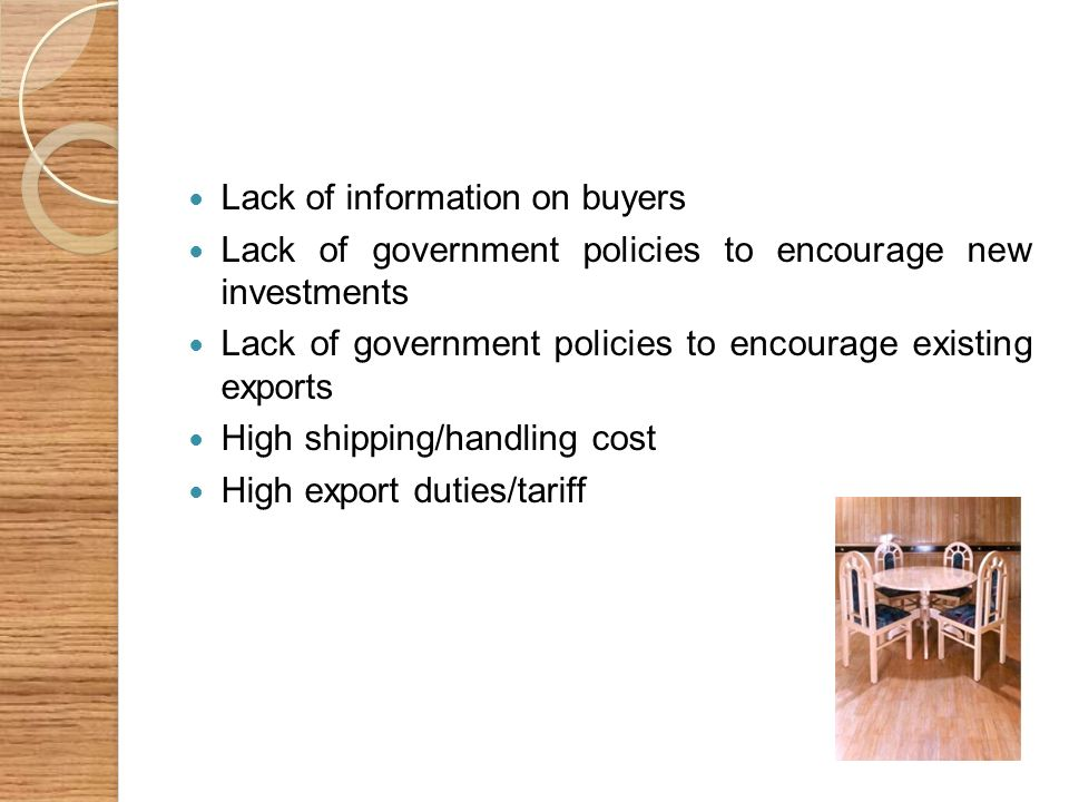 Lack of information on buyers Lack of government policies to encourage new investments Lack of government policies to encourage existing exports High