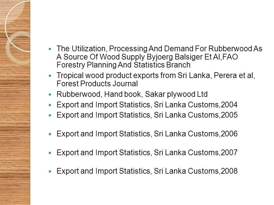 The Utilization, Processing And Demand For Rubberwood As A Source Of Wood Supply Byjoerg Balsiger Et Al,FAO Forestry Planning And Statistics Branch Tr