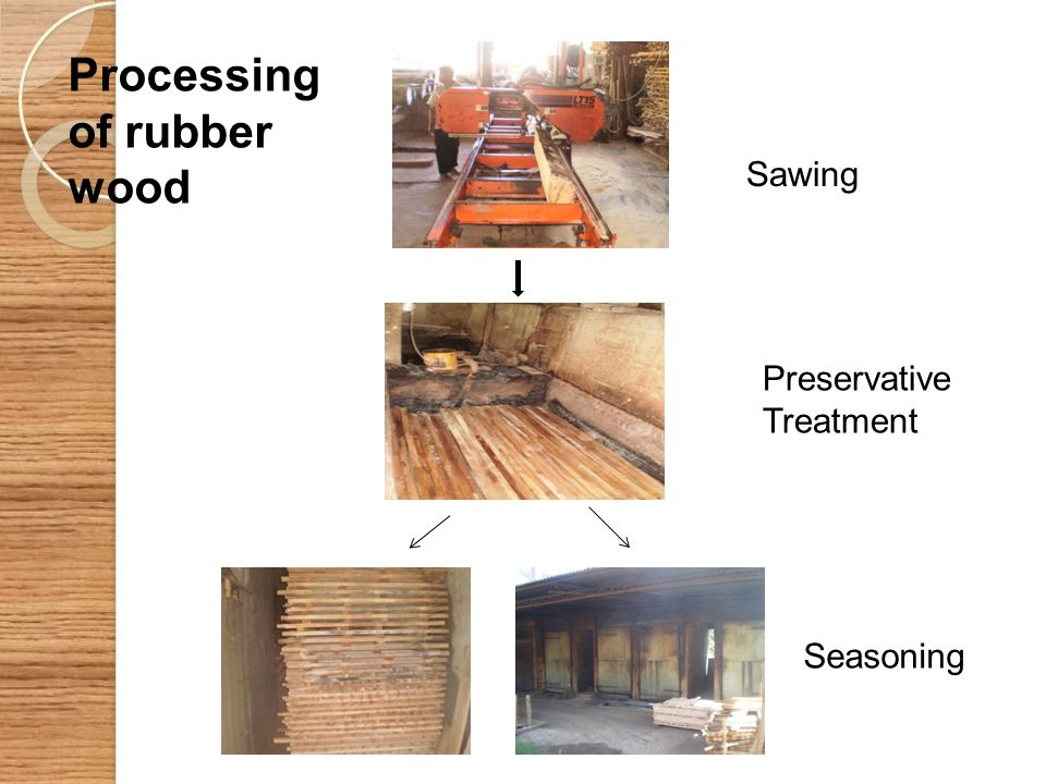 Sawing Preservative Treatment Seasoning Processing of rubber wood