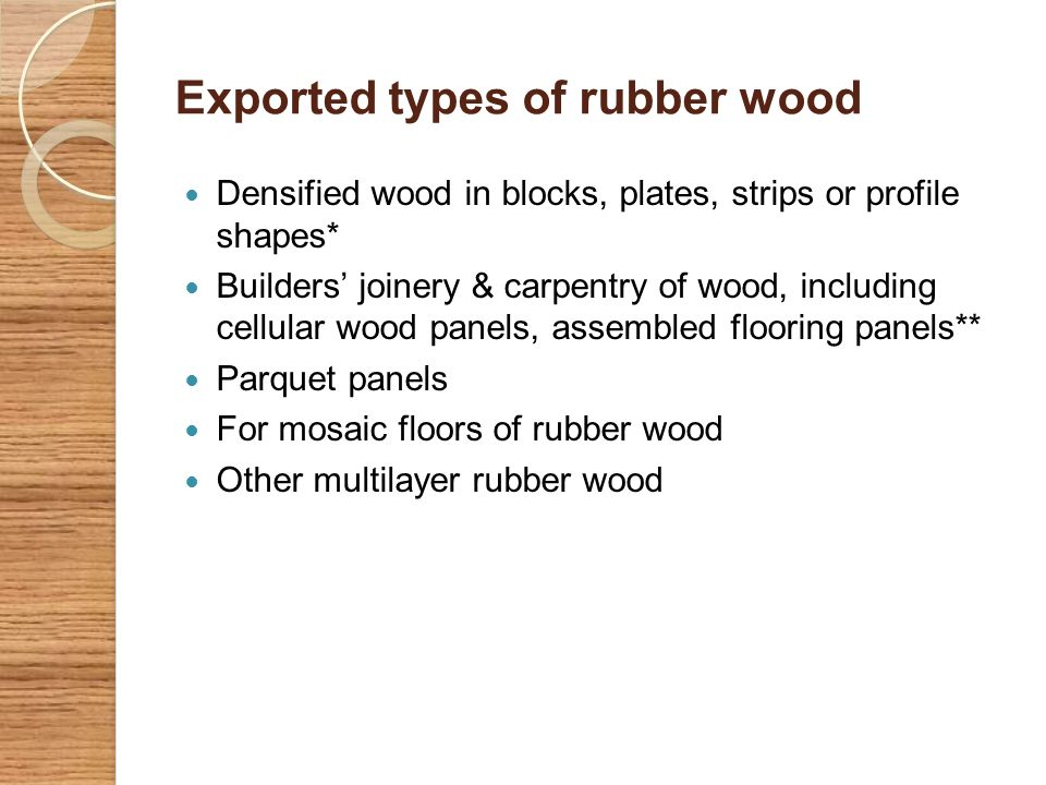 Export of rubber wood based products Country 2004 (Rs) 2005 (Rs) 2006 (Rs) 2007 (Rs) 2008 (Rs) Maldives83483943216947227170038937279807536 USA5256253897063971561481369330221132784 UK19303829135352503862231113178578557209 Rubberwood products are exported mainly to the United Kingdom, Unite States, Maldives, France, Germany, Saudi Arabia