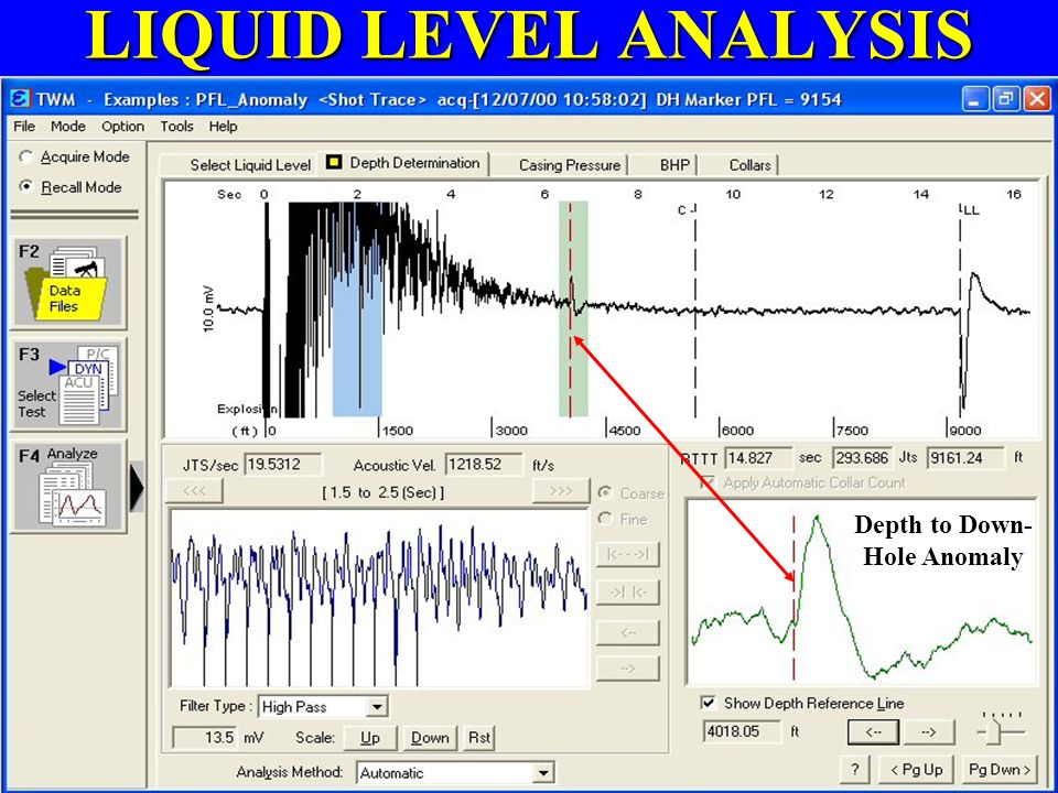LIQUID LEVEL ANALYSIS Automatically Count Collars to Liquid Level Other Methods: Acoustic Velocity Downhole Marker