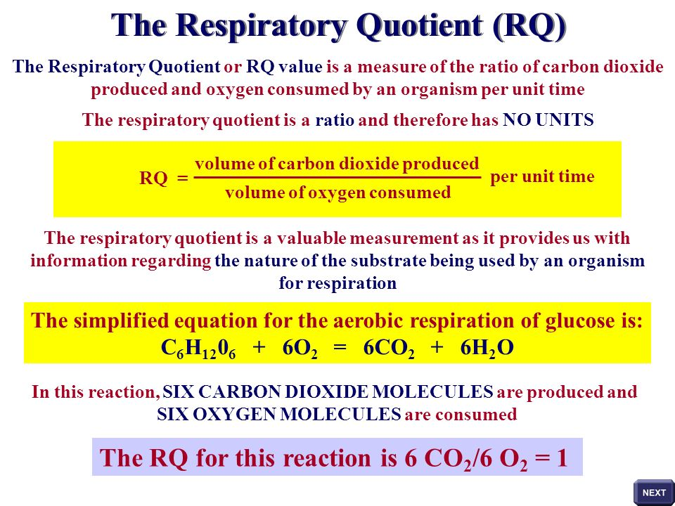 OBTAINING RQ VALUES WATER The whole procedure is now repeated, under identical conditions, but with water replacing the KOH solution Carbon dioxide gas is no longer being absorbed form the air in the experimental tube STEP 2 If, under these conditions, the manometer fluid DOES NOT MOVE, then the volume of oxygen being consumed is EQUAL to the volume of carbon dioxide being produced The volume of oxygen consumed in one hour has been determined in STEP 1 of the procedure Consider this value to have been 20mm 3 of oxygen in one hour We can conclude that the volume of carbon dioxide produced must have the SAME VALUE as the manometer fluid did not move towards either of the tubes So volume of oxygen consumed is equal to the volume of carbon dioxide produced