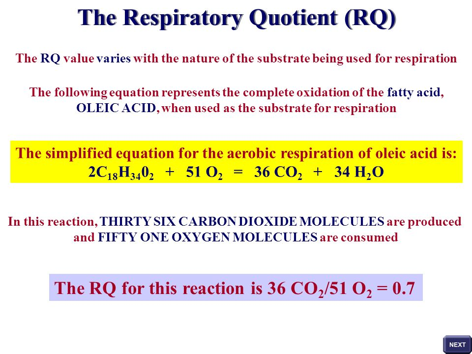 WATER OBTAINING RQ VALUES STEP 2 In this example the manometer fluid did not move towards either of the tubes Oxygen consumption in one hour is equal to carbon dioxide production in one hour Considering the value for oxygen consumption to have been 20mm 3 in one hour then: RQ = 20 mm 3 h -1 = 1 An RQ value of 1 indicates that the organisms are using carbohydrate as the respiratory substrate during the course of this experiment