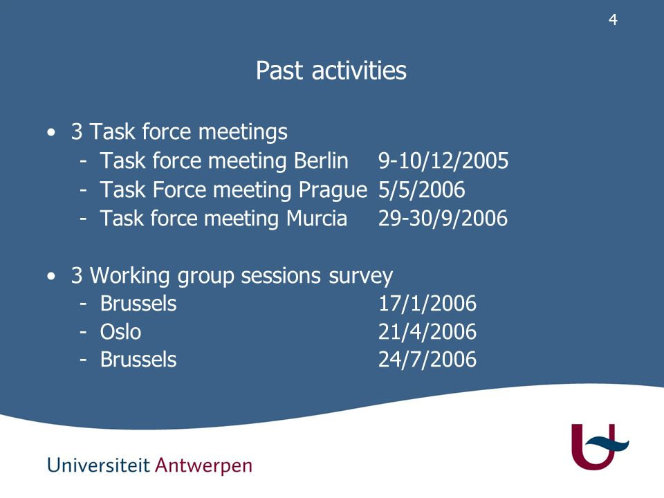 3 Past activities 5 core meetings -Brussels10/11/2005 -Berlin9/12/2005 -Oslo24/2/2006 -Brussels7/7/2006 -Murcia29/9/2006