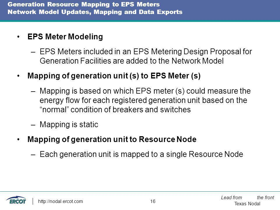 Lead from the front Texas Nodal http://nodal.ercot.com 16 Generation Resource Mapping to EPS Meters Network Model Updates, Mapping and Data Exports EP