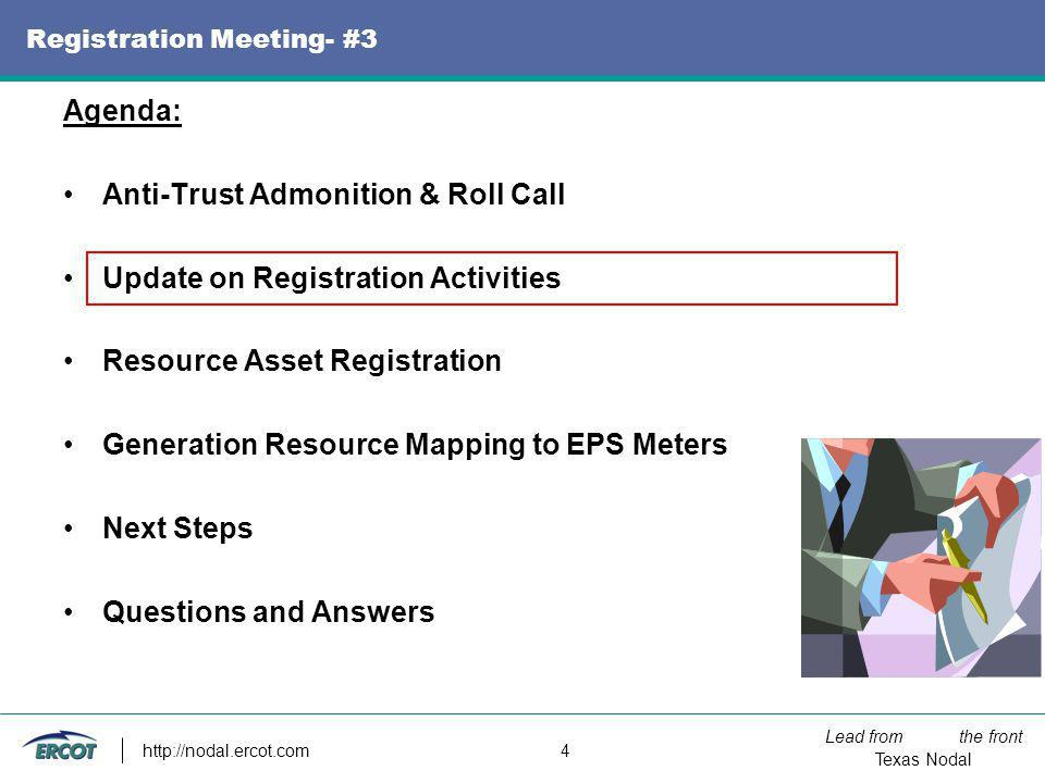 Lead from the front Texas Nodal http://nodal.ercot.com 4 Registration Meeting- #3 Agenda: Anti-Trust Admonition & Roll Call Update on Registration Act