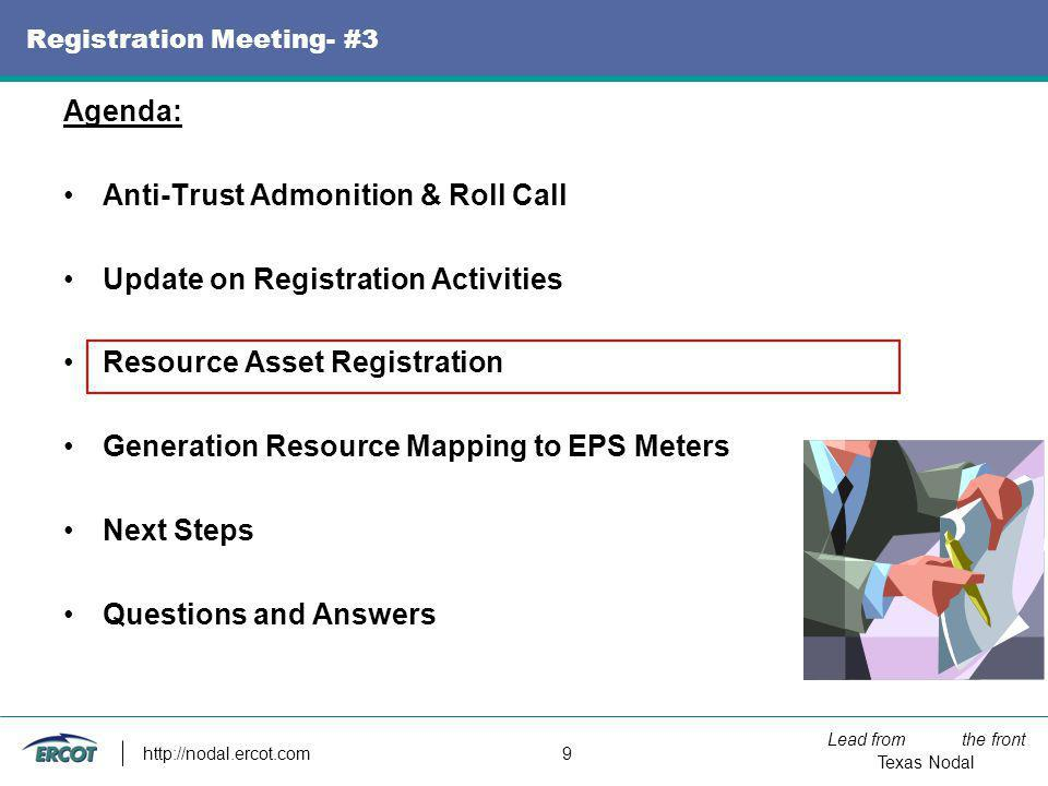 Lead from the front Texas Nodal http://nodal.ercot.com 9 Registration Meeting- #3 Agenda: Anti-Trust Admonition & Roll Call Update on Registration Act