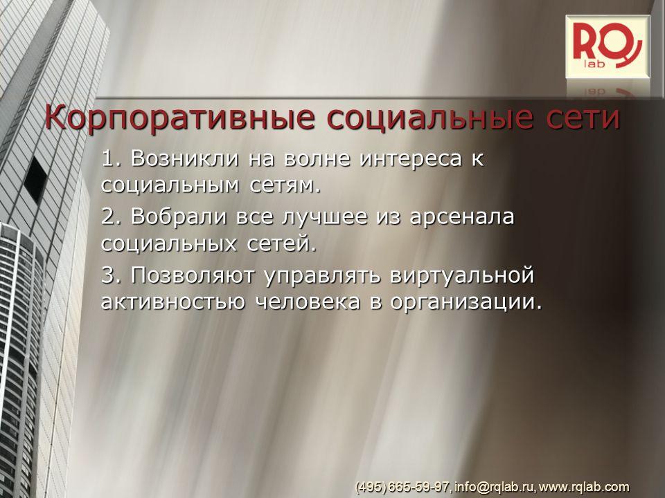 Корпоративные социальные сети 1. Возникли на волне интереса к социальным сетям.