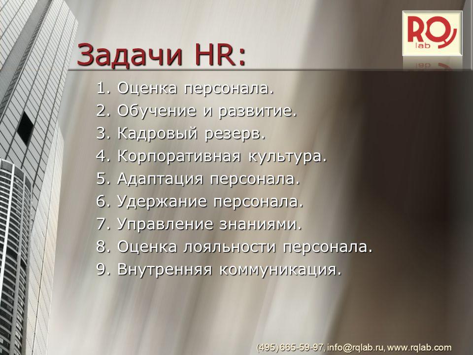 Задачи HR: 1. Оценка персонала. 2. Обучение и развитие.