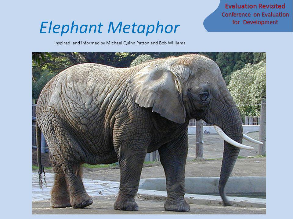 Evaluation Revisited Conference on Evaluation for Development Elephant Metaphor Inspired and informed by Michael Quinn Patton and Bob Williams