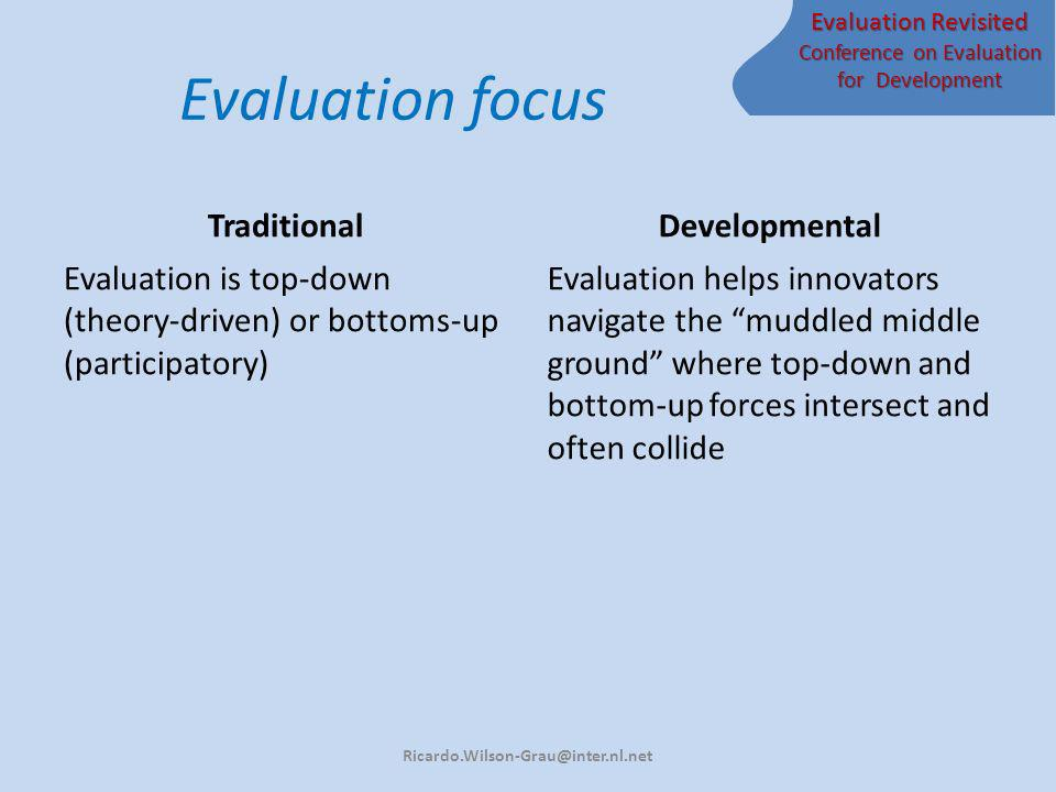 Evaluation Revisited Conference on Evaluation for Development Evaluation focus Traditional Evaluation is top-down (theory-driven) or bottoms-up (participatory) Developmental Evaluation helps innovators navigate the muddled middle ground where top-down and bottom-up forces intersect and often collide Ricardo.Wilson-Grau@inter.nl.net