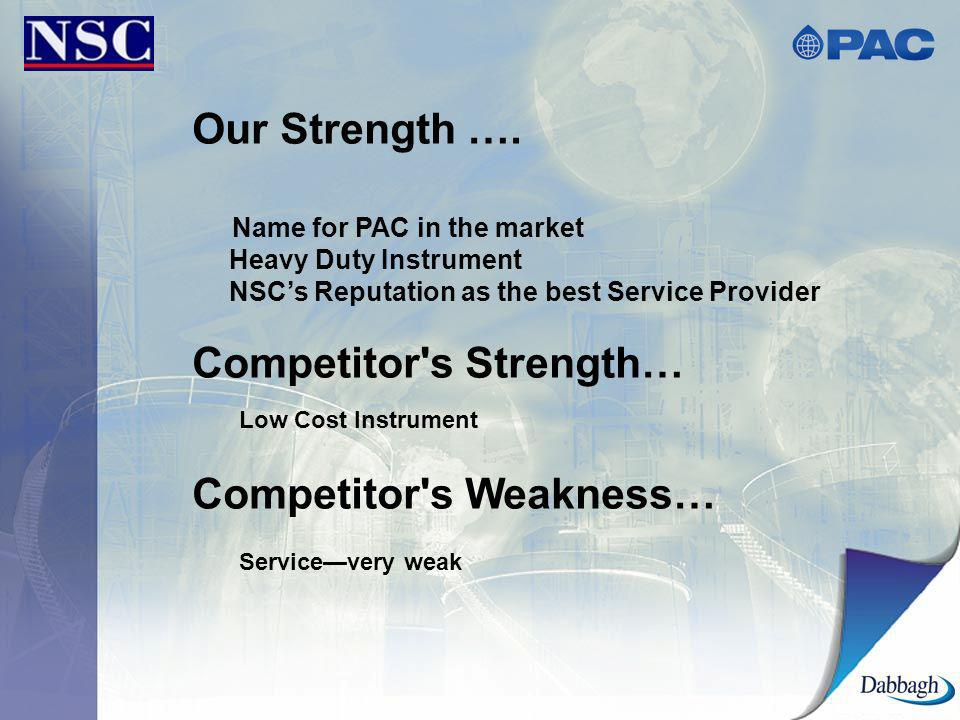Our Strength …. Name for PAC in the market Heavy Duty Instrument NSCs Reputation as the best Service Provider Competitor's Strength… Low Cost Instrume